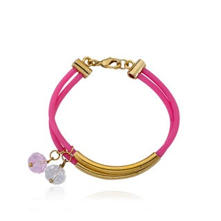 LMTS Girls 14k Goldplated Hot Pink Rubber 2-row Bangle