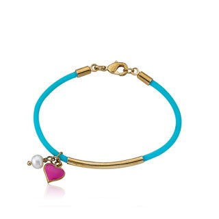 LMTS Girls 14k Goldplated Aqua Rubber Hot Pink Heart and Pearl Charm Bangle