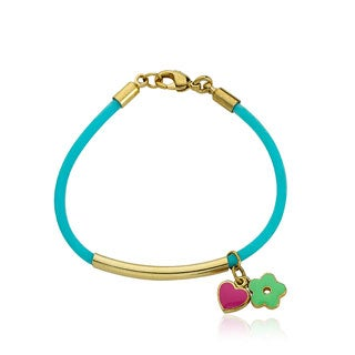 LMTS Girls 14k Goldplated Bar Aqua Rubber Bangle