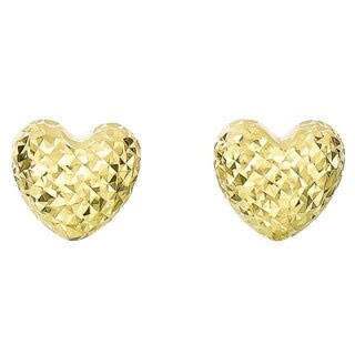 14k Diamond Cut and Polished Gold Puff Heart Earrings