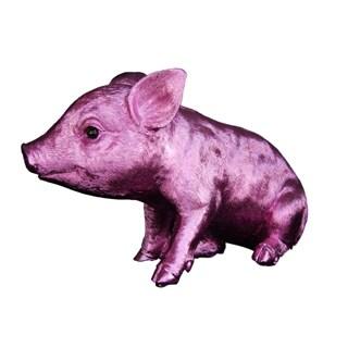 Pink Chrome Standing Piggy Bank 9.5-inch Long