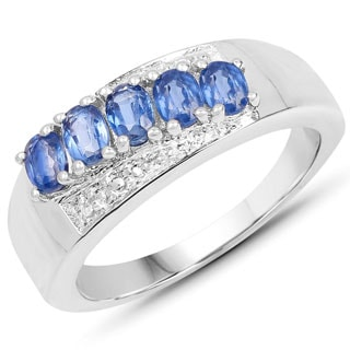 Olivia Leone 1.12 Carat Genuine Kyanite and White Topaz .925 Sterling Silver Ring