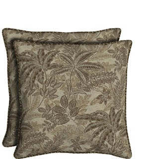 Bombay Outdoors Palmetto Mocha Reversible Oversize Toss Cushion Pillows (Set of 2)
