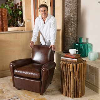 Christopher Knight Home Paolo Top Grain Brown Leather Arm Chair