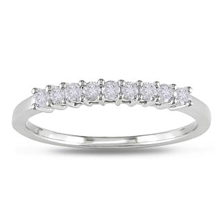 Miadora 10k White Gold 1/4ct TDW Diamond Band