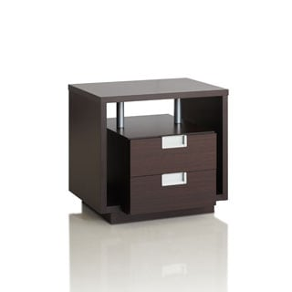 Furniture of America Ferrall Modern Espresso Box 2-drawer End Table