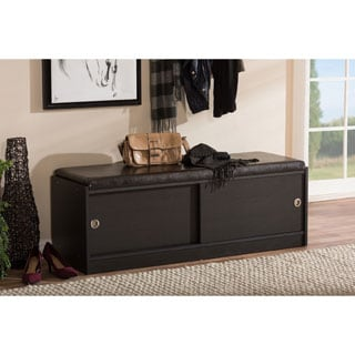 Baxton Studio Clevedon Modern and Contemporary Dark Brown Wood Entryway Storage Cushioned Bench Shoe Rack Cabinet Organizer