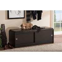 Clay Alder Home Hanalei Dark Brown Wood Storage Bench Organizer