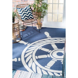 nuLOOM Handmade Nautical Ship Wheel Indoor/ Outdoor Navy Rug (9' x 12')