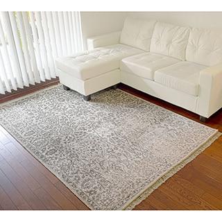 Modern Broken Design Rayon from Bamboo Silk Handmade Oriental Rug (5' x 7'4)