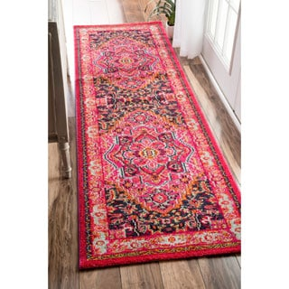 nuLOOM Traditional Flower Medallion Violet Pink Runner Rug (2'6 x 8')