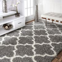 nuLOOM Soft and Plush Moroccan Trellis Shag Grey Rug - 6'7 x 9'