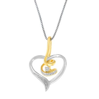 Espira 10k White Gold Heart Diamond Accent Pendant (H-I, I2-I3)
