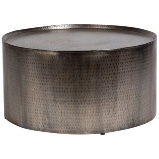 Handmade Porter Rotonde Hammered Metal Industrial Round Coffee Table (India)