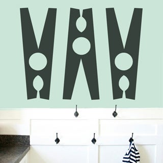Clothespins Set - Laundry Room Wall Decals - LARGE