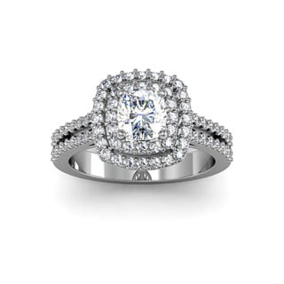 14k White Gold 1 1/2ct Halo with 3/4ct Cushion-cut Center Diamond Engagement Ring (H-I, I1-I2 Clarit