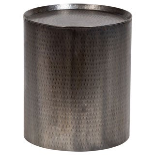 Handmade Porter Rotonde Hammered Metal Industrial Round End Table (India)