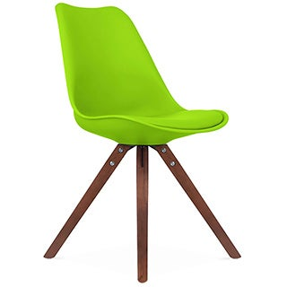 Viborg Mid-Century Green Side Chair with Walnut Wood Base (Set of 2)