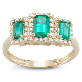 Gioelli 10k Yellow Gold Created Emerald 3/8ct TDW Diamond Radiant Emerald Ring (H-I, I1-I2)