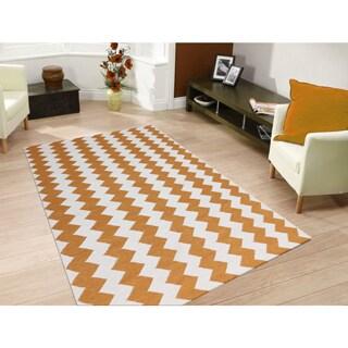 Sonora Orange Flat-weave Chevron Rug (5' x 8')