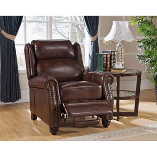Madison Brown Premium Top Grain Leather Recliner Chair. Leather Living Room Chairs For Less   Overstock com