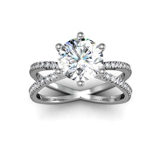 Modern X Band 14k White Gold 2 1/4ct. Solitaire Engagement Ring with 2ct. Clarity Enhanced Center Di - White H-I
