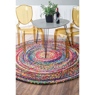 nuLOOM Casual Handmade Braided Cotton Multi Round Rug (8' Round)