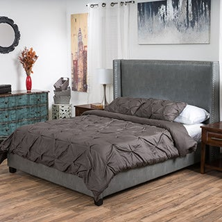 Amory Upholstered Bonded Leather Wingback Bed Set by Christopher Knight Home
