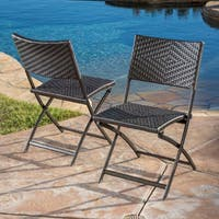 Christopher Knight Home El Paso Outdoor Brown Wicker Folding Chair (Set of 2)
