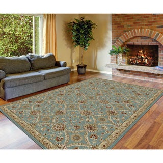 Alise Fairview Transitional Floral Blue Area Rug (5'3 x 7'3)