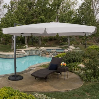 Christopher Knight Home Catalina Outdoor Yuma Folding Aluminum 11.5 ft. Canopy Umbrella with Base