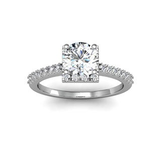 14k White Gold 1 2/5ct. Square Halo Diamond Engagement Ring with 1ct. Clarity Enhanced Center Diamon - White H-I