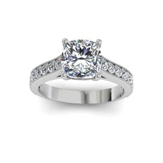 2.50 Carat Solitaire Engagement Ring With 2.00 Carat Cushion Cut Center Diamond In 14K White Gold (H