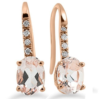 14k Rose Gold 1/10ct TDW Diamond & Morganite Dangle Earrings (I-J,I2-I3)