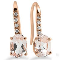 14k Rose Gold 1/10ct TDW Diamond & Morganite Dangle Earrings (I-J,I2-I3)