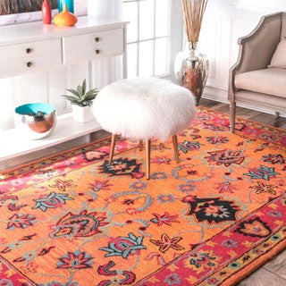 nuLOOM Handmade Overdyed Traditional Orange Wool Rug (9'6 x 13'6)