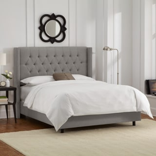 Skyline Furniture Linen Grey Diamond Tufted Wingback Nail Bed