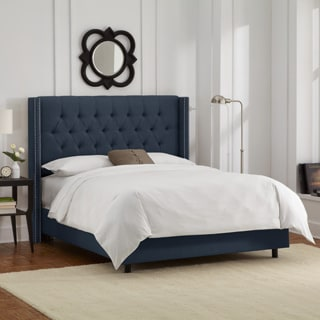 Skyline Furniture Linen Navy Diamond Tufted Wingback Nail Bed