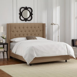 Skyline Furniture Linen Taupe Diamond Tufted Wingback Nail Bed