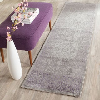 Safavieh Passion Watercolor Vintage Grey / Lavender Distressed Rug (2'2 x 8')
