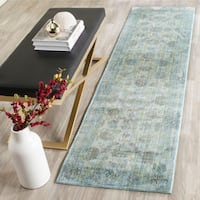 Safavieh Valencia Light Blue/ Turquoise Distressed Silky Polyester Rug (2'3 x 8')