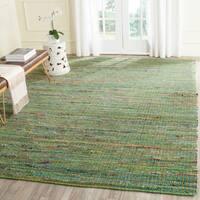 Safavieh Handmade Nantucket Green Multicolored Cotton Rug - 5' x 8'