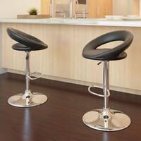 Round Open Back Adjustable Barstool in Black Leatherette, set of 2