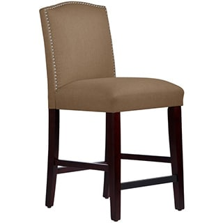 Skyline Furniture Nail Button Arched Counter Stool in Linen Taupe