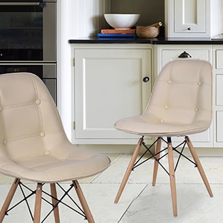 Adeco Side Chair with Wooden Legs(set of Two)