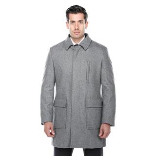 Verno Emon Light Grey Wool Blend Peacoat