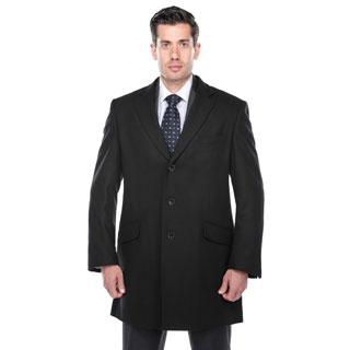Verno Walt Men's Black Wool Blend Overcoat