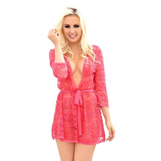 Popsi Lingerie Women's Provocative Lace Robe with Matching Panties