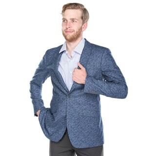 Verno Calvo Men's Blue Patterned Slim Fit Italian Styled Wool Blend Blazer