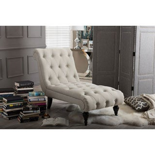 Baxton Studio Layla Mid Century Retro Modern Light Beige Fabric Upholstered  Button Tufted Chaise